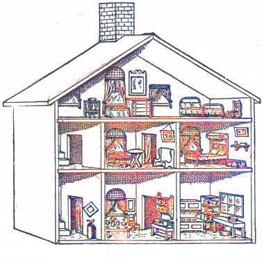Dollhouse on wood contact paper