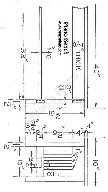 Printable Plans for a Piano Bench