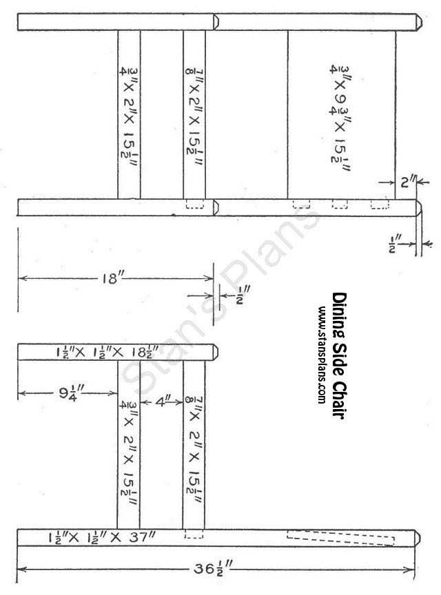 Printable plans for a dining side chair for Free dining chair plans