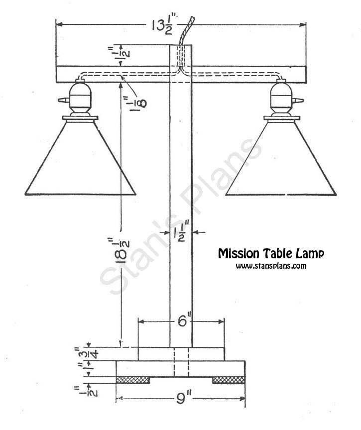 Printable Plans for a Mission Table Lamp